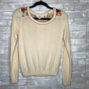 Anthropologie HWR Monogram Floral Back Sweater XS